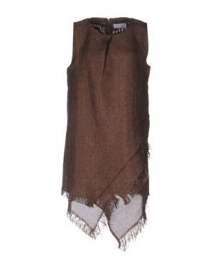 Платье до колена WEILI ZHENG. Цвет: коричневый