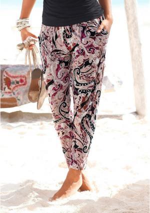 Пляжные брюки Lascana. Цвет: бежевый/лиловый с рисунком