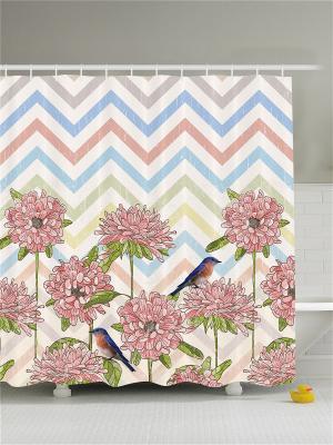 Фотоштора для ванной Розовая лилия и жемчуг, очки со стразами, разноцветные ягоды, цветы птицы, Magic Lady. Цвет: голубой, бежевый, белый, зеленый, розовый