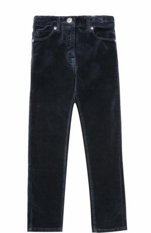 Велюровые брюки с бантом на поясе Monnalisa. Цвет: темно-синий