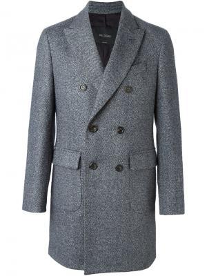 Двубортное пальто миди  Delloglio Dell'oglio. Цвет: синий