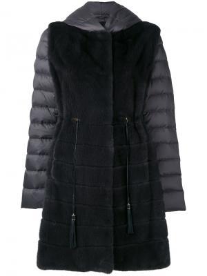 Пальто-пуховик с норковым мехом Liska. Цвет: серый