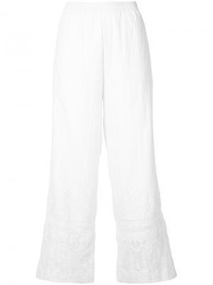 Расклешенные брюки с кружевными элементами Kobi Halperin. Цвет: белый