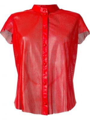 Перфорированная рубашка без воротника Drome. Цвет: красный