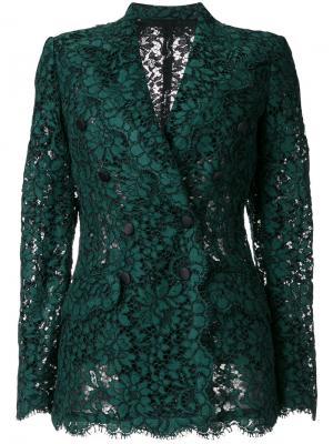 Двубортный кружевной пиджак Dolce & Gabbana. Цвет: зелёный