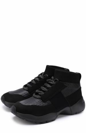 Высокие текстильные кроссовки на шнуровке O.X.S.. Цвет: черный