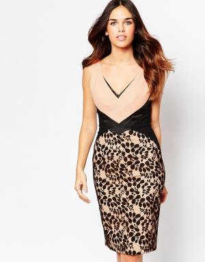 Hybrid Контрастное кружевное платье с V-образным вырезом Mayfair. Цвет: черный