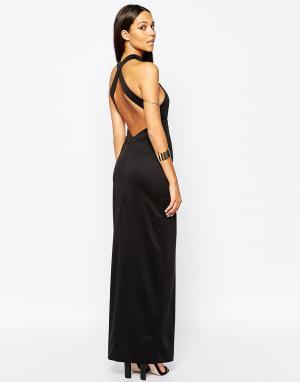 AQ Платье макси с открытой спиной Izzo. Цвет: черный