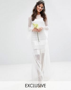 Body Frock Плиссированное свадебное платье макси с расклешенными манжетами Bodyfr. Цвет: белый