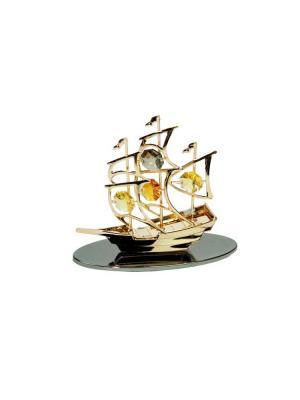 Фигурка декоративная Кораблик CRYSTOCRAFT. Цвет: желтый, серый, золотистый