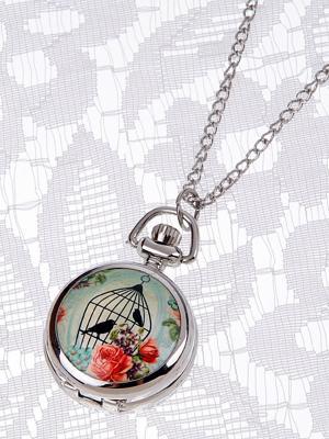 Кулон-часы Птицы в клетке и красные розы Mitya Veselkov. Цвет: серебристый