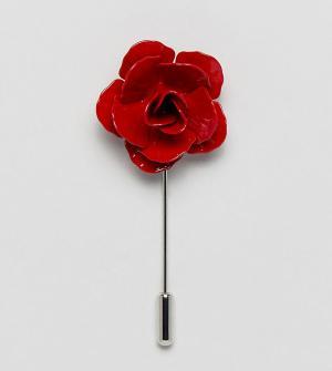 Noose & Monkey Булавка на лацкан в виде розы. Цвет: красный