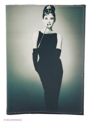 Обложка для паспорта Одри в черном платье Mitya Veselkov. Цвет: серо-зеленый, черный