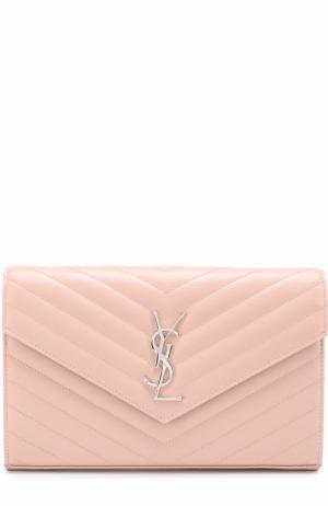 Клатч Monogram на цепочке Saint Laurent. Цвет: светло-розовый