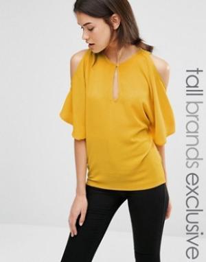Alter Tall Струящаяся блузка с открытыми плечами. Цвет: желтый