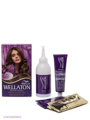 Крем-краска для волос 6/0 Темно-русый WELLATON. Цвет: коричневый
