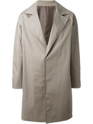 Пальто на потайной застежке System Homme. Цвет: телесный