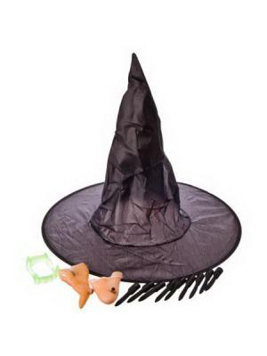 Набор карнавальный, (шляпа, нос, подбородок, ногти) СНОУБУМ. Цвет: черный