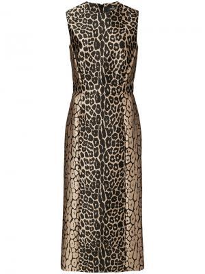 Приталенное платье с леопардовым узором J. Mendel. Цвет: чёрный