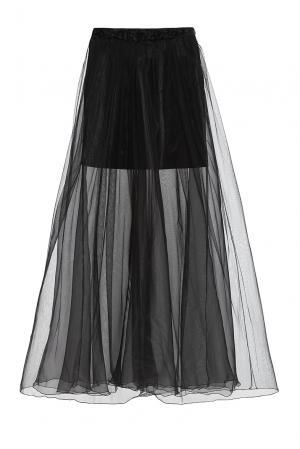 Юбка из вискозы с искусственным шелком 163070 Msw Atelier. Цвет: черный