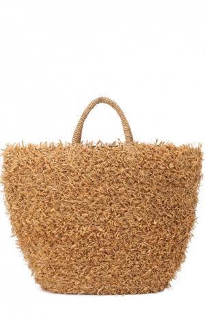 Плетеная сумка Summertime из рафии Sans-Arcidet. Цвет: темно-бежевый