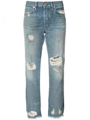 Укороченные джинсы с потертой отделкой NSF. Цвет: синий