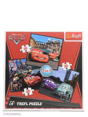 Пазлы. Набор 3в1( 20 и 36 50дет) Путешествие по Европе Trefl. Цвет: красный