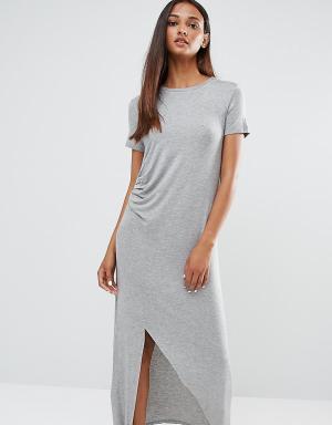 One Day Tall Платье миди со сборкой спереди. Цвет: серый