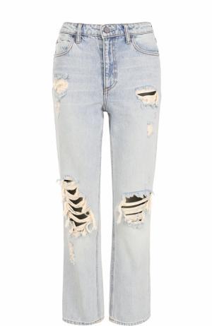 Укороченные джинсы прямого кроя с потертостями Denim X Alexander Wang. Цвет: голубой