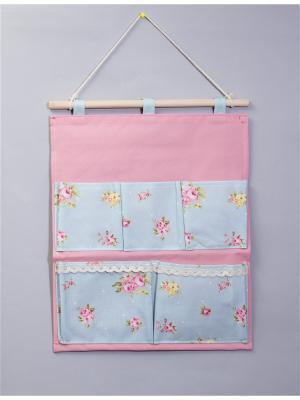 Органайзер с 5 карманами настенный Русские подарки. Цвет: голубой, розовый