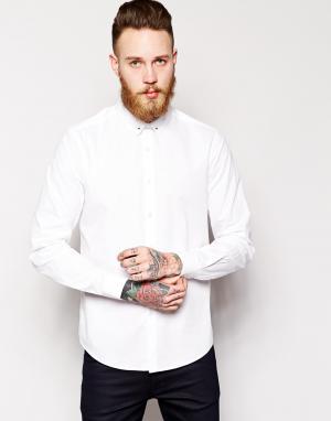 ASOS Рубашка с длинными рукавами и булавкой для галстука. Цвет: белый