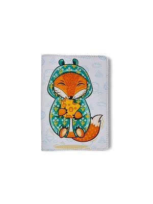 Обложка для паспорта  Лисик и сыр TonyFox. Цвет: белый, зеленый, оранжевый