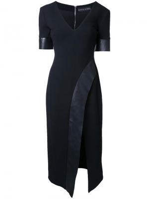 Приталенное платье с V-образным вырезом David Koma. Цвет: чёрный