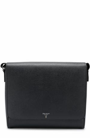 Кожаный мессенджер с внешним карманом на молнии Serapian. Цвет: темно-синий