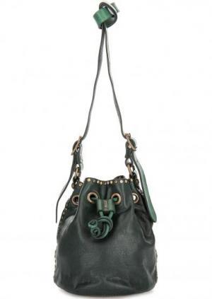 Кожаная сумка на кулиске Campomaggi. Цвет: зеленый