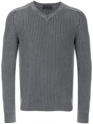 Пуловер в рубчик с V-образным вырезом Iris Von Arnim. Цвет: серый