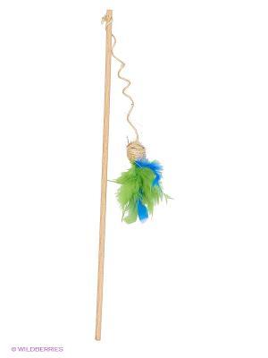 Игрушка для кошки Удочка бамбук шарик-сизаль с пером 100см Zoobaloo. Цвет: светло-бежевый