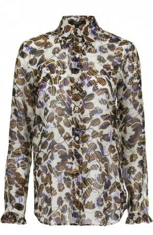 Шелковая блуза с контрастным принтом Derek Lam. Цвет: разноцветный