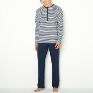 Пижама La Redoute Collections. Цвет: в полоску синий + белый,в полоску синий/светло-серый