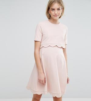 ASOS Maternity - Nursing Платье для беременных и кормящих мам с короткими рукавами Materni. Цвет: розовый