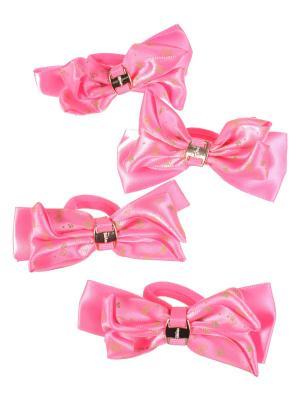 Резинки для волос бантики с золотой пряжкой разноцветные принтом ромашка, 4 штуки, розовые Радужки. Цвет: розовый
