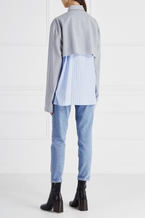 Комбинированная рубашка Ambush. Цвет: серо-голубой