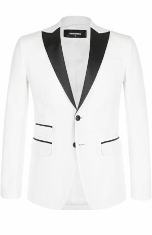 Вечерний пиджак из смеси хлопка и шелка с шелковыми лацканами Dsquared2. Цвет: белый