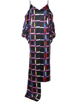Плдлинное платье в клетку Solace London. Цвет: чёрный