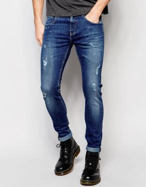 D.I.E Светло-синие состаренные супероблегающие джинсы . Smoke. Цвет: синий