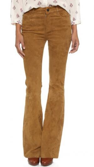 Расклешенные замшевые брюки Canyon с высокой посадкой PAIGE. Цвет: рыжевато-коричневый