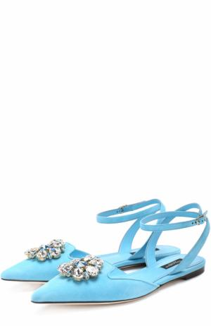Замшевые балетки Bellucci с кристаллами Dolce & Gabbana. Цвет: голубой