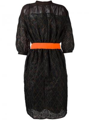 Платье шифт с геометрическим узором Kolor. Цвет: зелёный