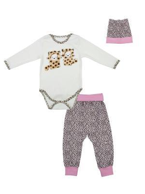 Боди, брюки, шапка Апрель. Цвет: молочный, розовый, коричневый