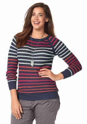 Пуловер BOYSENS BOYSEN'S. Цвет: серо-коричневый в полоску, синий в полоску